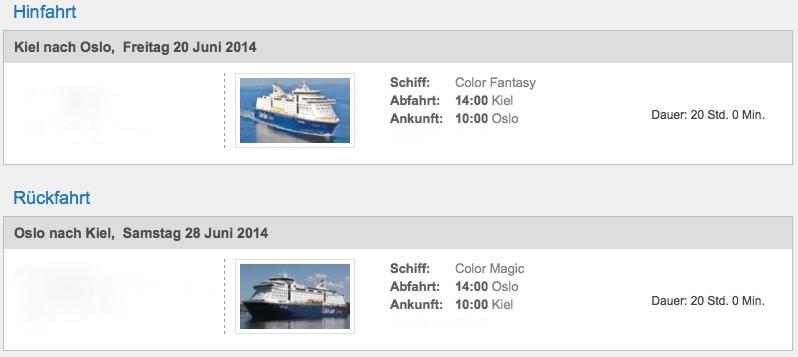 Fährfahrten 2014 Kiel-Oslo-Kiel